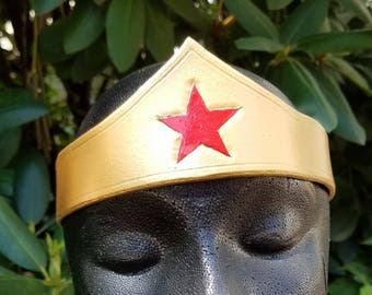 Warrior Woman Leather Tiara - Classic Gold with Red Star Comic Costume Accessory