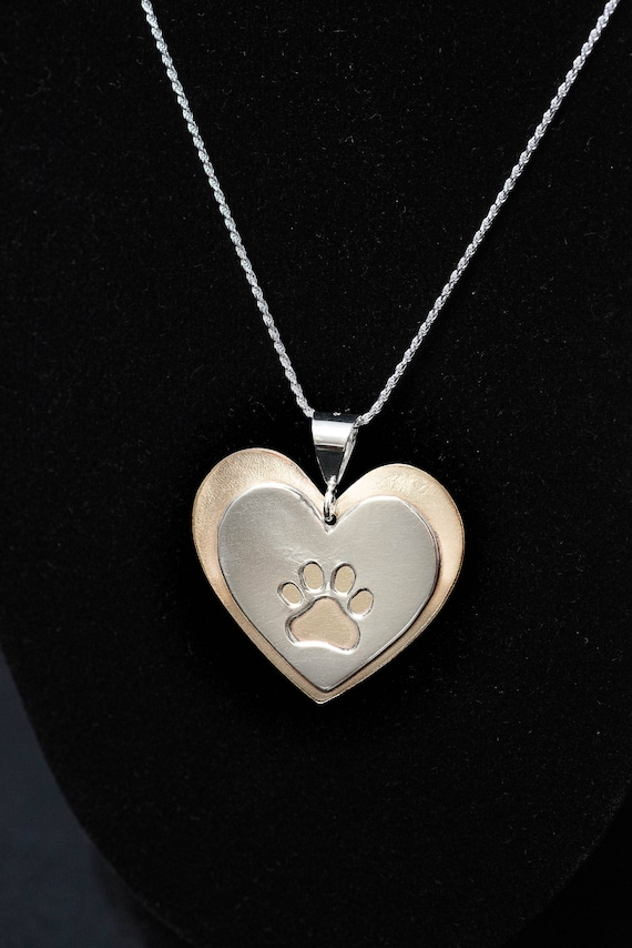 Heart & Paw Pendant, Heart with Paw, Puppy Paw Pendant, Silver and Brass, Mixed Metal Pendant, 925 Silver, Handmade Pendant