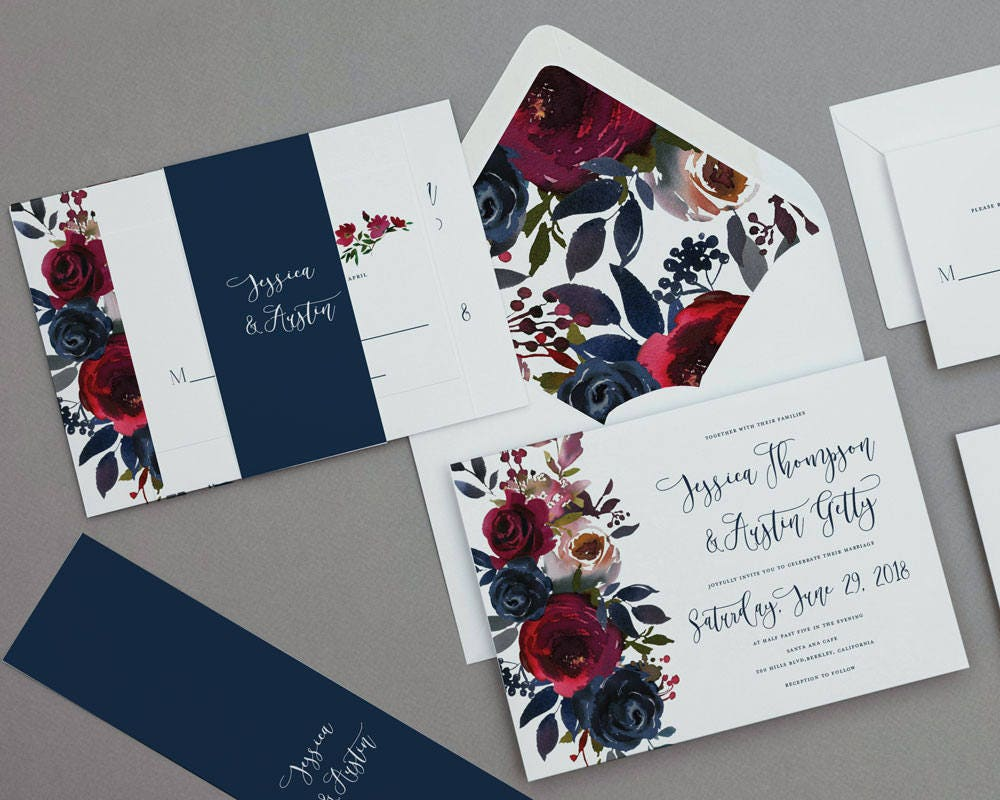 Navy Wedding Invites: Merlot And Navy Floral Wedding Invitation TemplateRustic