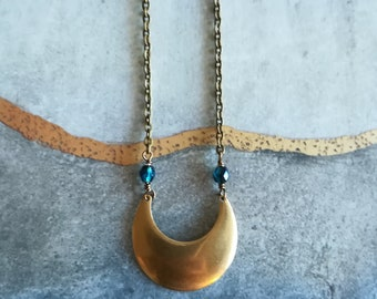 Crescent Moon Necklace | Raw Gold Brass Necklace | Lunar Jewelry | Gift for Her