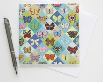 Butterfly Harlequin - Blank Greetings Card