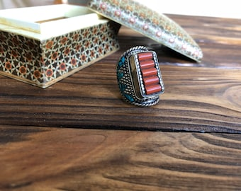 Coral nepali antique ring, Tibetan square ring, multistone mosaic ring, signet turquoise ring, navajo turquoise jewelry, Bohemian Gypsy ring