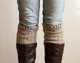 CROCHET PATTERN instant download - Walk in the Storm Cuffs - lace beige leg warmers tutorial cool modern fashionable PDF