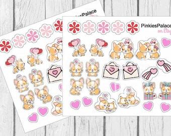 Corgi Love Planner Stickers Mini Set Stickers Valentine PS452