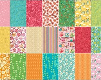 Fat Quarter Fabric Bundle of 21 Vibrant Pinks, Blues, Oranges and Aquas - 100% Premium Cotton - FREE SHIPPING