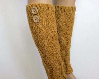 Leg warmers with two buttons,Boots Women's leg warmers, Wool BlendLe Warmers,Knitted LegWarmer,Mustard colors