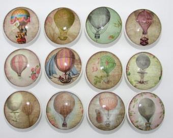 Vintage Hot Air Balloon Dresser Drawer Knobs Pulls Cabinet Doors Set 0f 12