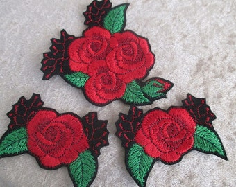 Red roses iron on patches