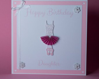 Handmade Ballerina/Dancer Birthday card, ballerina birthday card, girls birthday card, pink dance card, dancing birthday card,ballerina tutu