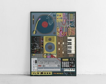 Jam Session Poster Instruments Poster Instrument Illustration DJ Poster Music Illustration Instrument Print Music Print Music Art MPC