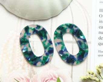 Acetate Acrylic Diy Earring Charms,Tortoise Shell Earrings,Oval Shaped Pendant,Earring findings, jewelry supply,Large Oval size 47*35*2.5mmC
