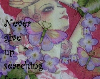 SEARCHING FOR YOURSELF altered art collage therapy recovery hope ATC ACEO PRINT