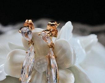 Bridal wedding earrings,Perfect charm earrings 18k Gold Filled Swarovski crystal dangle earrings