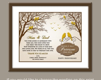 50th Wedding Anniversary Gift - Golden Wedding Anniversary - 50th Anniversary Gift - Personalized 50th Anniversary Gifts -  8x10 PRINT