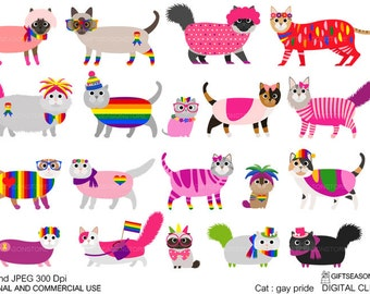 Gay pride cat digital clip art for Personal and Commercial use - INSTANT DOWNLOAD