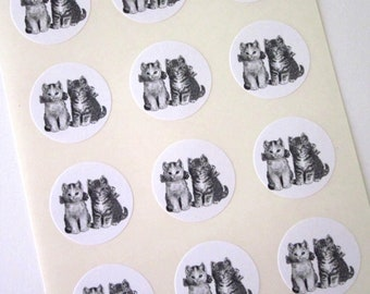 Kittens Cats Stickers One Inch Round Seals