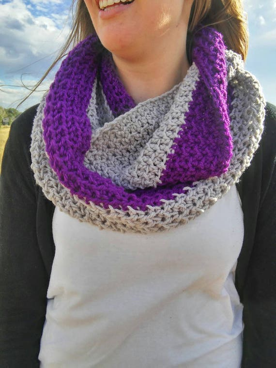 Felicity scarf -- crochet infinity scarf -- purple and grey scarf -- squishy infinity scarf