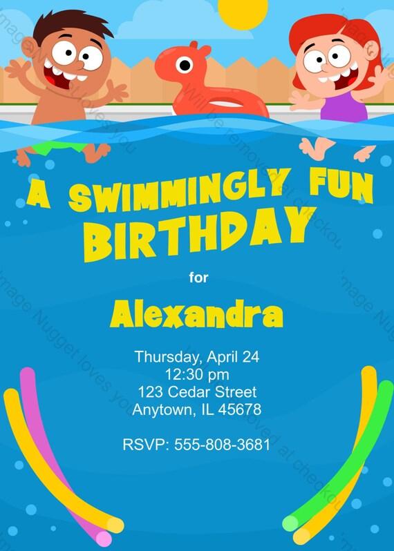 Très bien Extreme Invitation anniversaire de natation conception imprimable DJ83