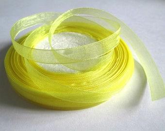 10 m yellow 10mm organza Ribbon