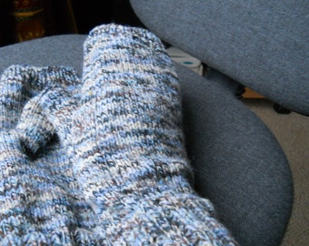 White blue brown  fingerless gloves for a man