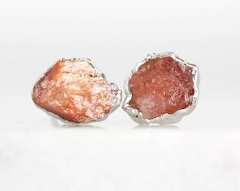 raw sunstone studs | sunstone earrings | orange stone studs | citrine studs | citrine earrings | raw stone stud earrings | crystal studs