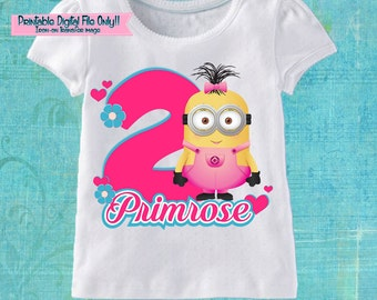 Minions Girls Printable Iron On Transfer - Custom Personalized T-Shirt Decal Design - Digital File