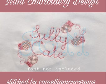 Cable Knit Mitten Mini Fill Stitch Machine Embroidery Design