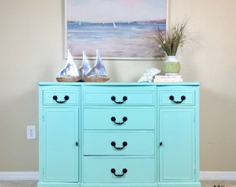 SOLD Blue Buffet Sideboard Console