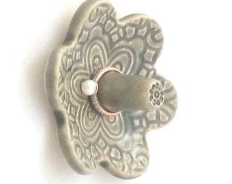 Ceramic ring holder dish, lace pattern, storing rings, gray