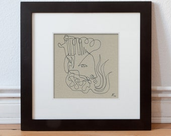Picture abstract 15/15 Drawing original, King-portrait