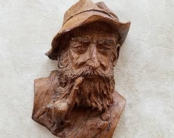 Pipe Smoking Bearded Man Sculpture Wall Decor