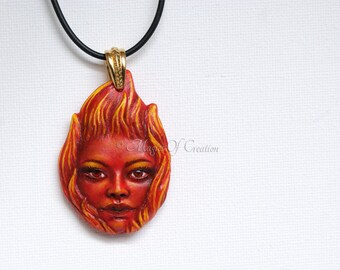Fire Goddess, fire element zodiac pendant: handpainted sculpture charm, unique birthday gift for Aries, Leo and Sagittarius zodiac signs!