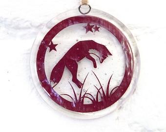 Fox Suncatcher, fox Ornament, Dangle, Christmas decoration, window decoration, wall art , sun catcher, Fused Glass, home decor, gift