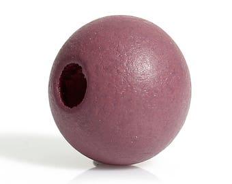set of 20 cypress wood beads pink /mauve(voir marron) 10 mm (hole 3 mm)