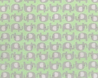 FLANNEL - Elephants on Green (Nature) From Robert Kaufman's The Wild Bunch Flannel Collection from Pink Light Designs