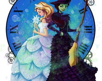 Wicked Fan Art Print, Digital download, Broadway, Elphaba,Glinda, Wizard of Oz, Art, Fantasy,JPEG,Painting,Children's Art, illustration