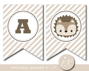 Hedgehog banner, Woodland baby shower banner, Woodland birthday banner, Woodland bunting, Woodland garland, PB-596
