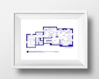 Sherlock Holmes - TV Show - Apartment Floor Plan Poster - 221b Baker Street - Blue Print - Mother's Day or Father's Day Gift