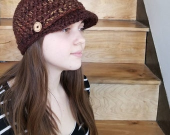 Newsboy Cap / Handmade / Hat with visor / hat with brim / warm winter hat / ready to ship / Wool / Acrylic / Browns/Tans/Reds/ blended color