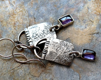 Minimalist Rustic Sterling Silver Earrings.Amethyst in Silver Dangles.Rustic Modern.Southwest Boho Tribal Style Jewelry