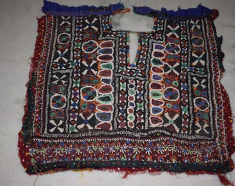 Indian Vintage Neck Yoke Embroidery OF Beads Work And Mirror work Handmade Applique Patch Sewing craft, cotton fabric neck yoke 112