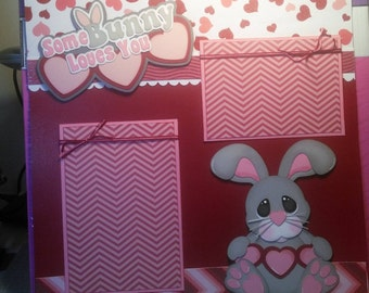12x12 premade Some bunny loves you scrapbook page