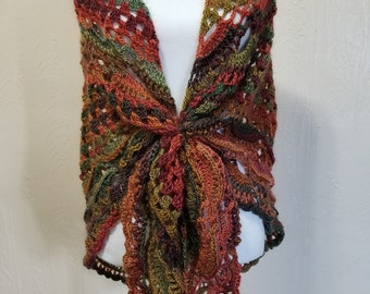 "Handmade Crochet Shawl Wrap ""Autumn"""