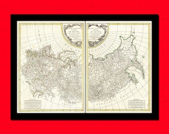 Old Map of Russia 1771 - Russian Map Russian Poster Old Map Prints Gift Idea