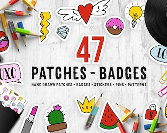 Patches. Cloth patch. Pins. Jeans patches. Stickers. Appliques. Fashion. Cute Clipart Set. Digital Clip Art instant download.