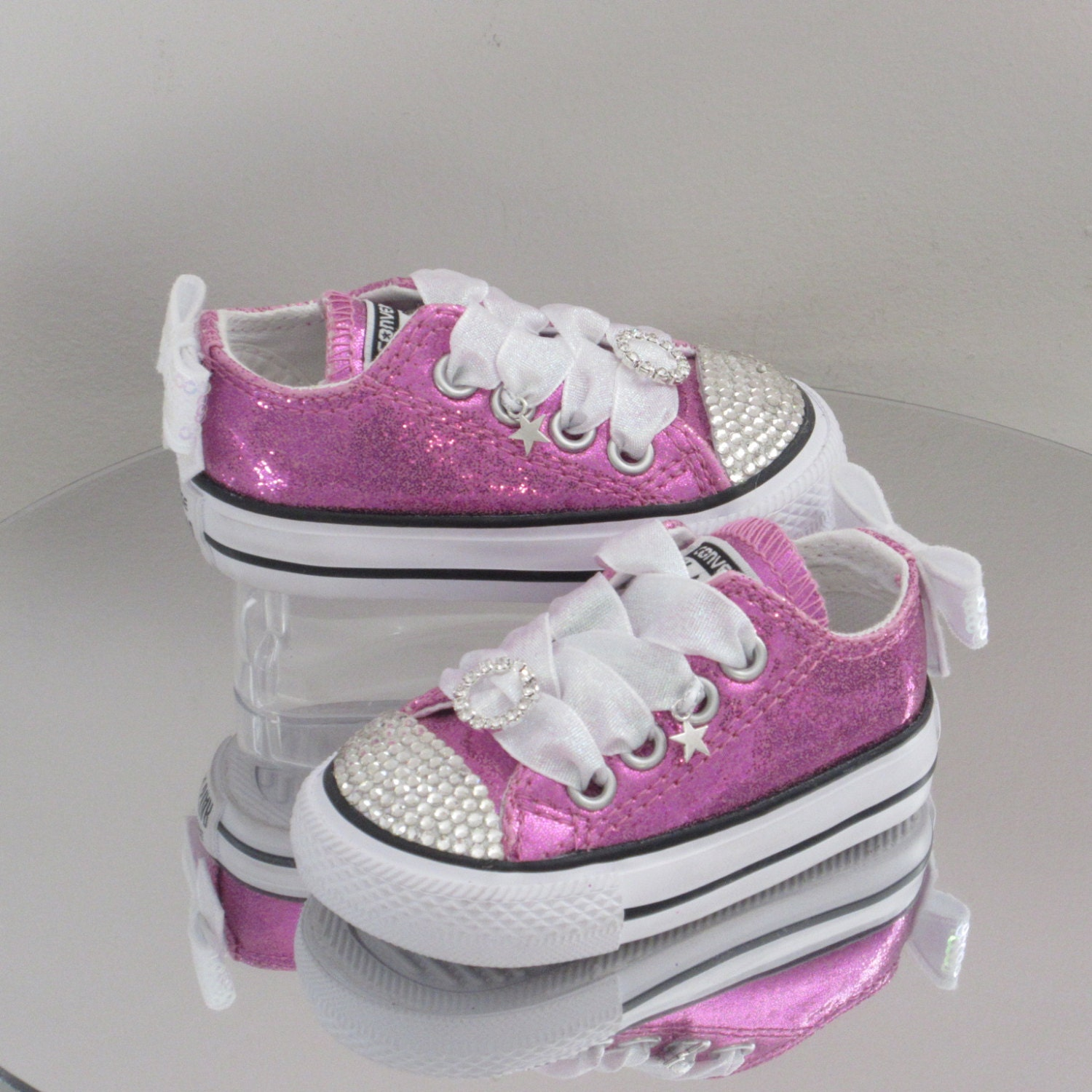 4a763f62723c Pink Glitter Baby   Toddler Custom Crystal  Bling  Converse Sizes 2 - 10