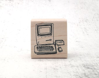 The Retro Mac- Retro/ Vintage Illustration Rubber Stamp - Hipster Pen Pal Stationary Stamp