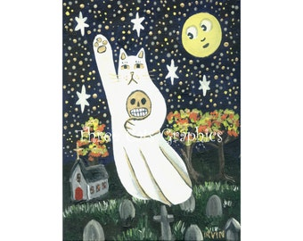 The Luck of Eternity - Ghost Cat Flying Over Cemetery - Choose from ACEO Print, Note Card with Stickers, or Art Print