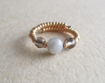 Labradorite gemstone seed beads memory wire beaded ring
