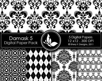 Printable Damask Paper Pack 5 - 5 Printable Digital scrapbooking papers - 12 x12 - 300 DPI